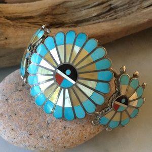 Vintage Native American Zuni Sunface Bracelet